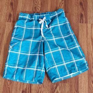 Op mens swim trunks small blue white